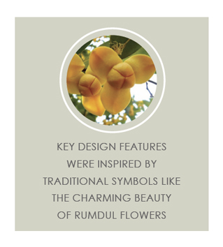 Key design features were inspired by traditional symbols like the charmingn beauty of rumdul flowers.