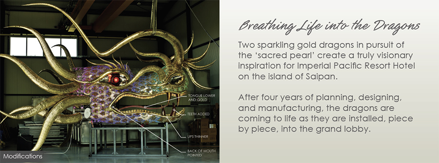 After four years of planning, designing, and manufacturing, the dragons are coming to life as they are installed, piece by piece, into the grand lobby.
