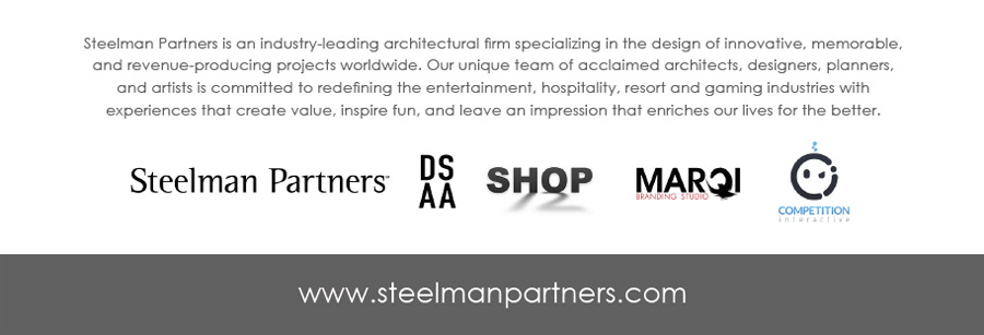Steelman Partners is an industry-leading architectural firm specializing in the design of innovative, memorable, and revenue-producing projects worldwide. Our unique team of ac claimed architects, designers, planners, and artists is committed to redefining the entertainment, hospit ality, resort and gaming industries with experiences that create value, inspire fun, and leave an impres sion that enriches our lives for the better.